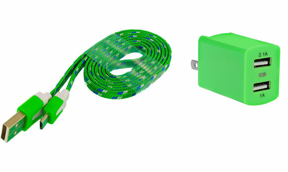 ZTE Stratos Home Wall Charger with 3 Ft. Green Braided Micro USB Cable and Dual USB Outlet - Cell-stuff