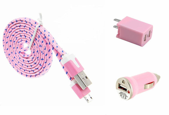 Combo Charger Pack with 3 Ft. Light Pink Braided Micro USB Cable, Dual USB Home Wall and Car Adapter