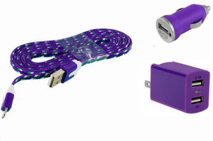 ZTE Unico Combo Charger Pack with 3 Ft. Purple Braided Micro USB Cable, Dual USB Home Wall and Car Adapter - Cell-stuff