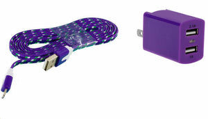 ZTE Obsidian Home Wall Charger with 3 Ft. Purple Braided Micro USB Cable and Dual USB Outlet - Cell-stuff