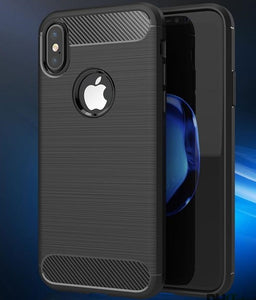 iPhone XR Black Carbon Fiber Design Flexible TPU Case Cover