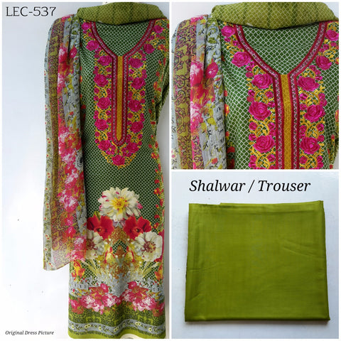 Embroidered Linen Suit with Chiffon Dupatta (LEC-537)