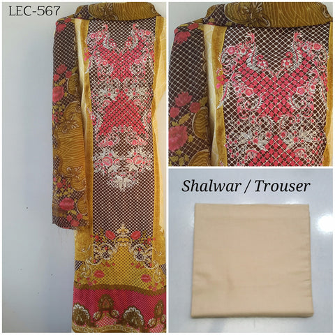 Embroidered Linen Suit with Chiffon Dupatta (LEC-567)