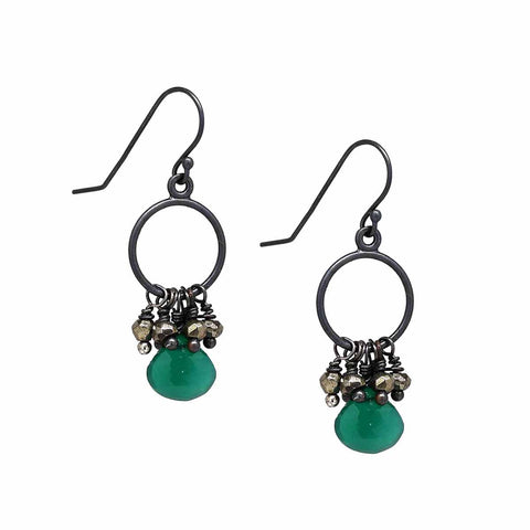 Pyrite and Green Onyx Sterling Silver Earrings