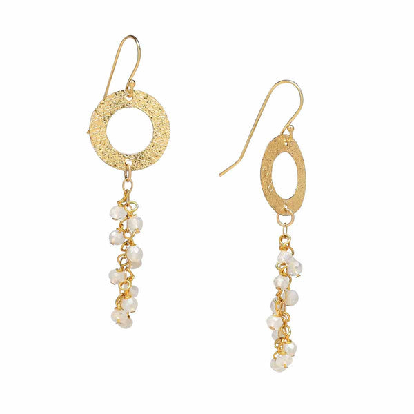 Moonstone Cascade Gold Earrings