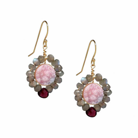 Druzy Red Garnet Labradorite Gold Dangle Earrings