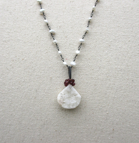 Sterling Silver Druzy & Pearl Necklace