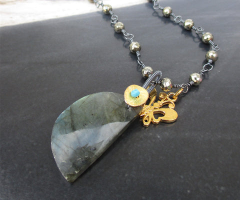 Pyrite and Labradorite Sterling Silver Necklace