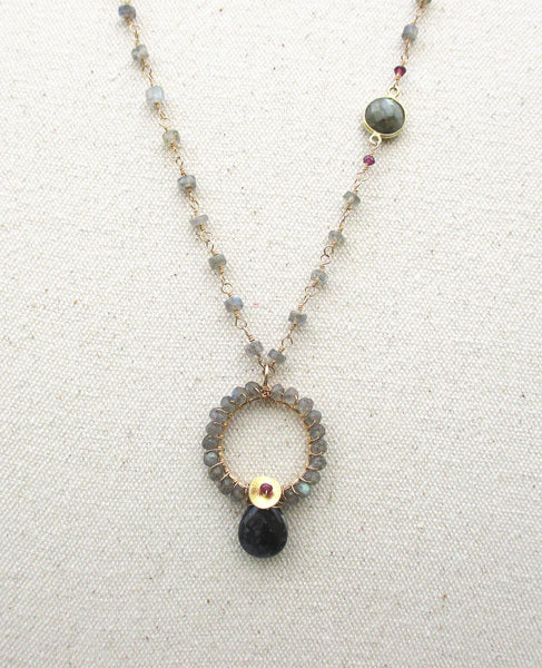 Hand Wrapped Labradorite Gold Necklace