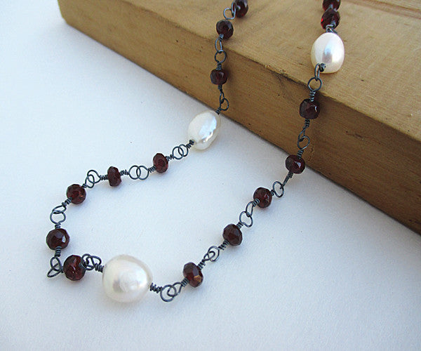 Pearl Red Garnet Sterling Silver Necklace