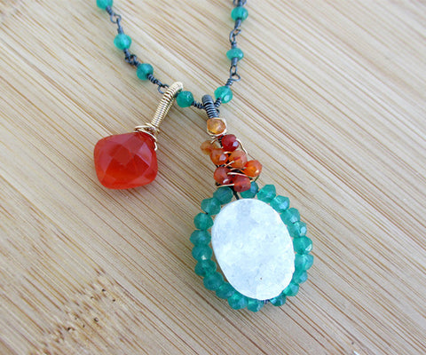Carnelian Druzy Green Onyx Sterling Silver Necklace