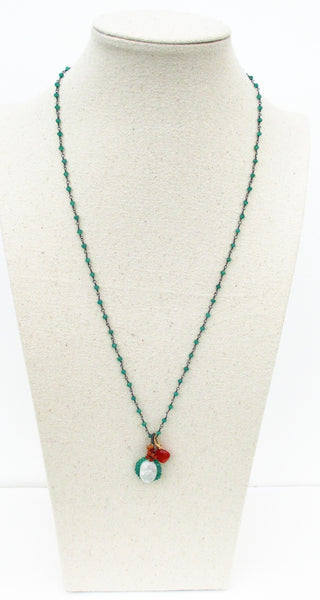 Oxidized Sterling Silver Green Onyx Necklace