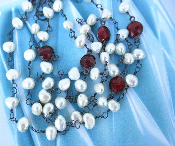 Ruby and Pearl Sterling Silver Necklace