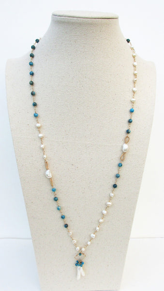 Blue Crazy Lace Agate & Freshwater Pearl Long Necklace