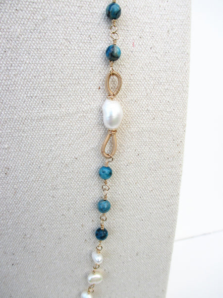 Blue Crazy Lace Agate & Freshwater Pearl Necklace