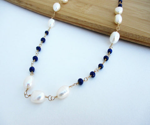 Lapis & Pearl Gold Necklace