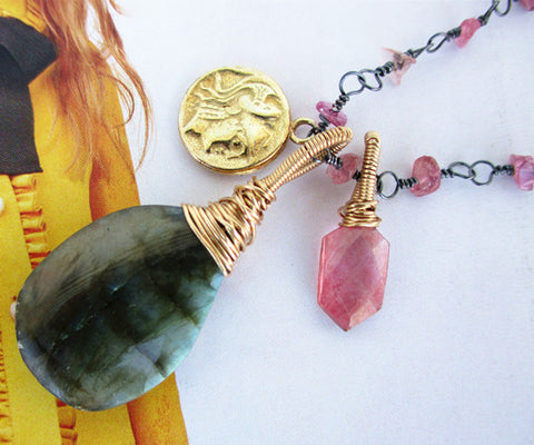 Labradorite Pink Tourmaline Sterling Silver Necklace