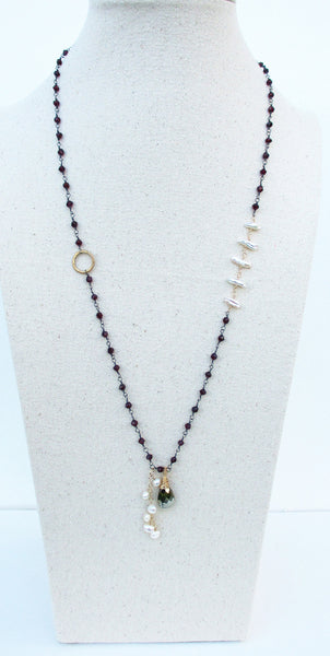 Red Garnet, Pearl, Pyrite Sterling Silver Necklace