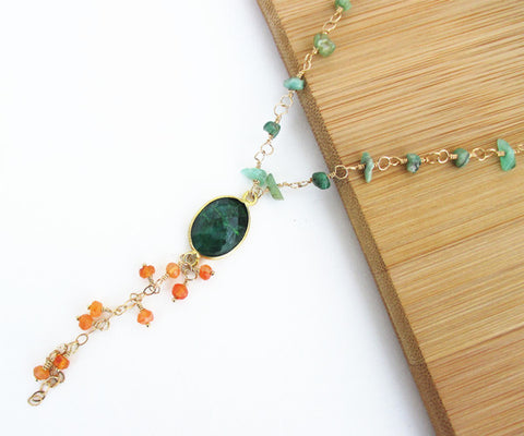 Carnelian and Emerald Long Gold Necklace