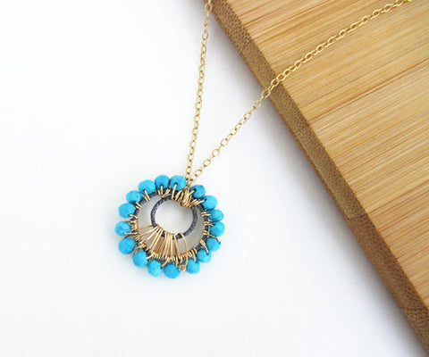Sleeping Beauty Turquoise Sunburst Penadant Gold Necklace