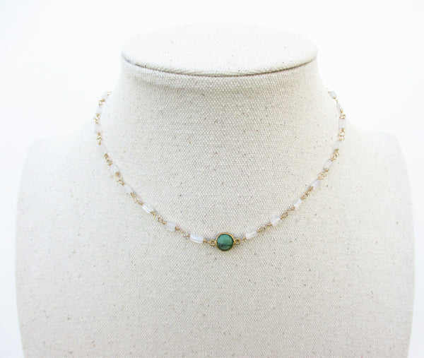 Chrysoprase Bezel and Moonstone Necklace