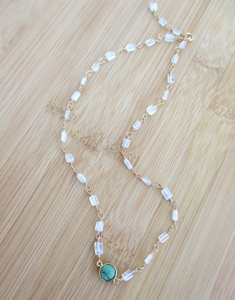 Chrysoprase Bezel and Moonstone Gold Necklace