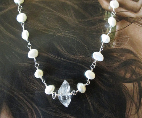 Herkimer Diamond, Pearl Sterling Silver Necklace