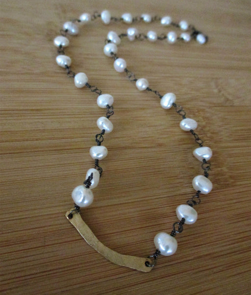 Gold Bar Freshwater Pearl Sterling Silver Necklace