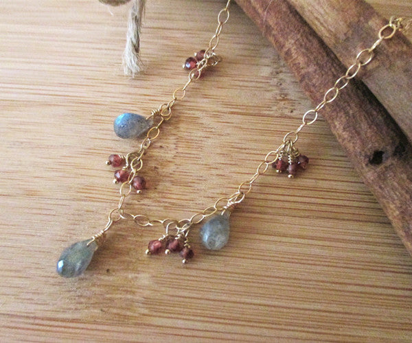 Labradorite Necklace With Red Garnet Cluster