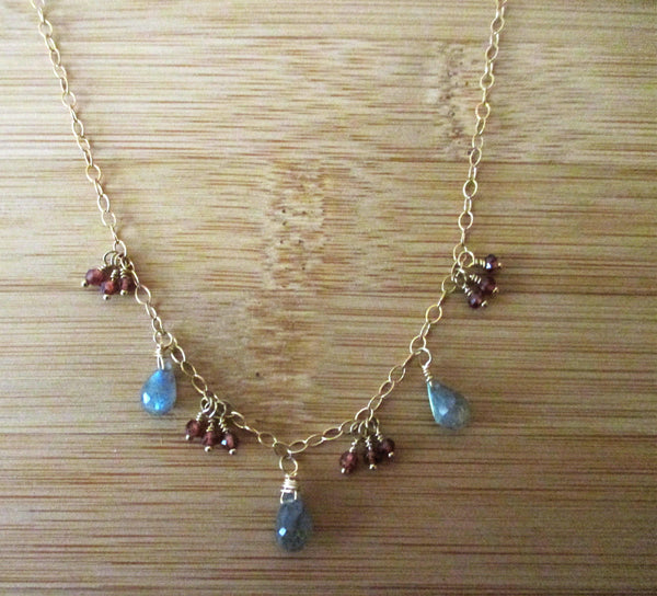 Labradorite Red Garnet Cluster Garland Necklace