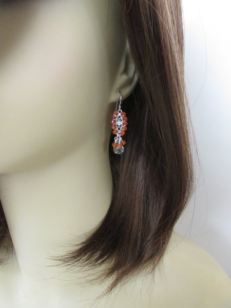 Pyrite and Carnelian Earrings