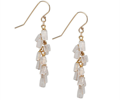 Gold Moonstone Cascade Dangle Earrings