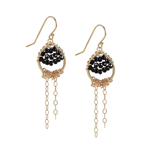 Wire Wrapped Black Spinel Gold Chain Dangle Earrings