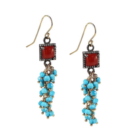 Red Coral Sleeping Beauty Turquoise Cascade Earrings