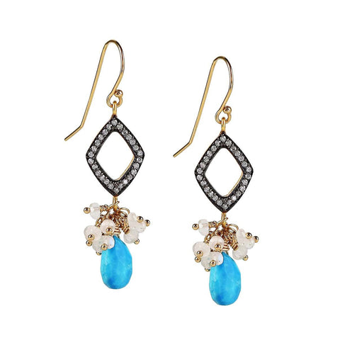 Sleeping Beauty Turquoise and Monnstone CZ Pave Diamond Gold Dangle Earrings