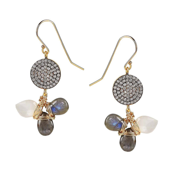 Labradorite and Moonstone Pave Diamond Gold Dangle Earrings