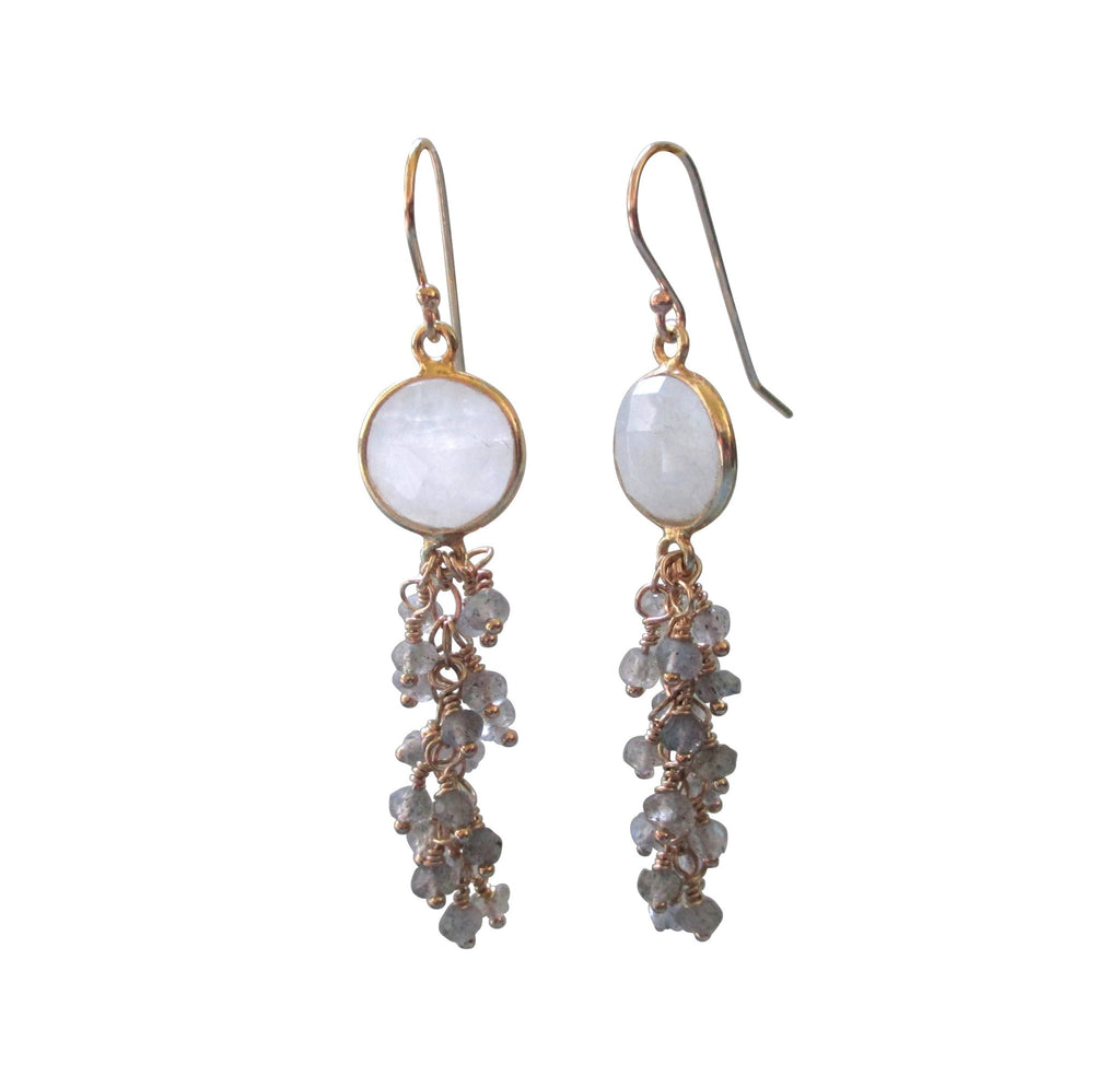 Moonstone Labradorite Cluste Cascade Gold Earrings