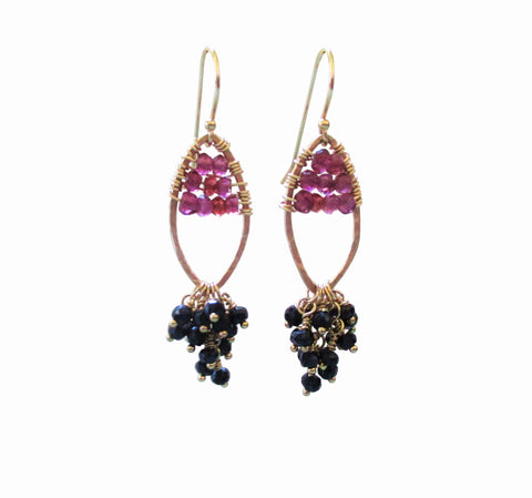 Wire Wrapped Red Garnet  Black Spinel Cascade Gold Earrings