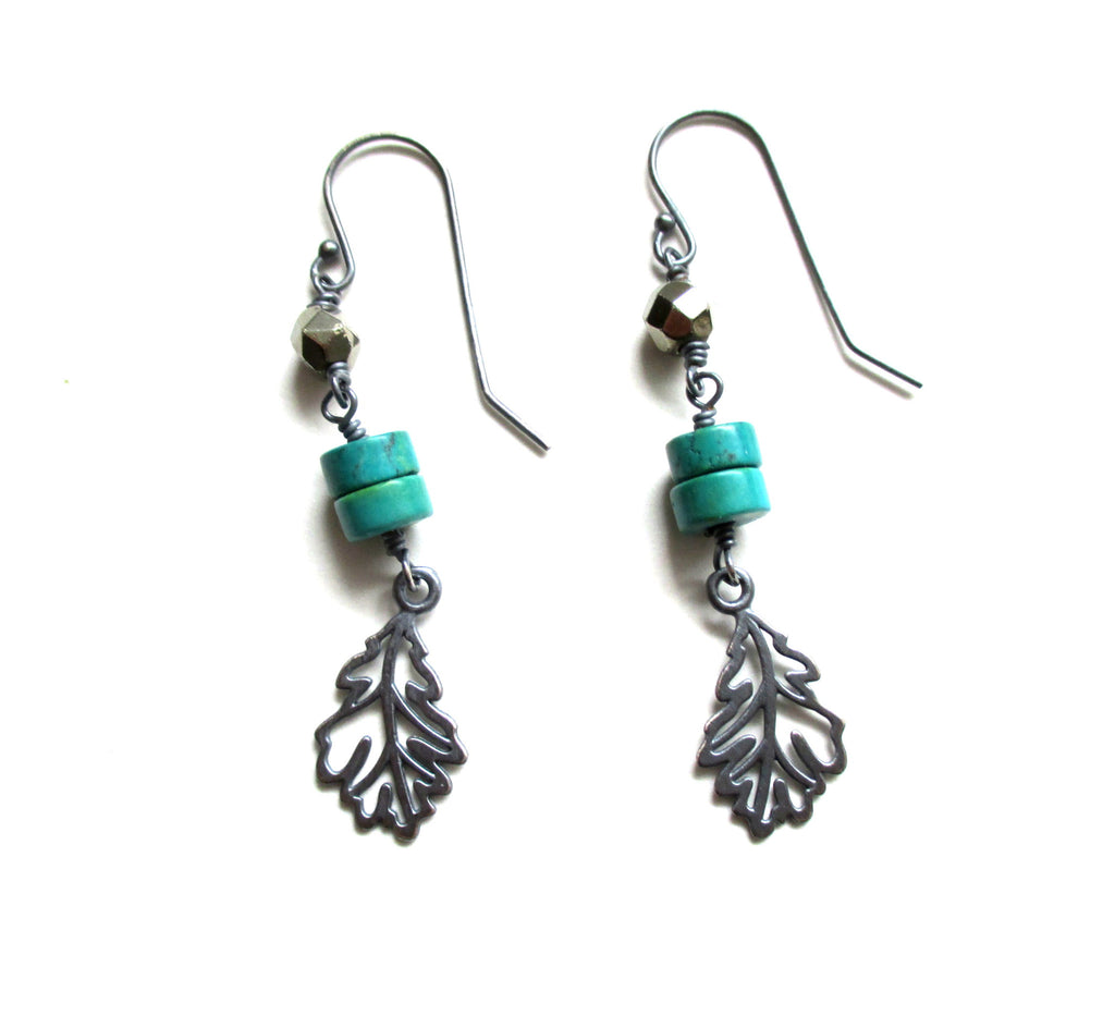 Pyrite, Turquoise Sterling Silver Feather Dangle Earrings