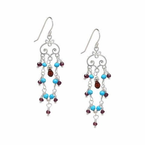 Sterling Silver Red Garnet Sleeping Beauty Turquoise Chandelier Earrings