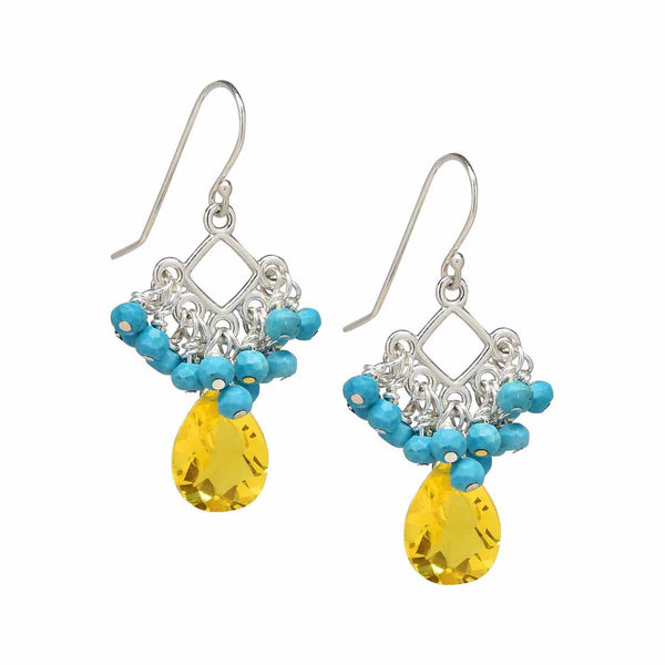 Sleeping Beauty Turquoise and Yellow Gold Topaz Dangle Earrings