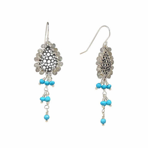 Sterling Silver Labradorite Sleeping Beauty Turquoise Chandelier Earrings