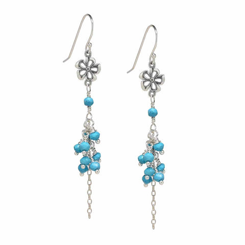 Sterling Silver Flower Sleeping Beauty Turquoise Earrings