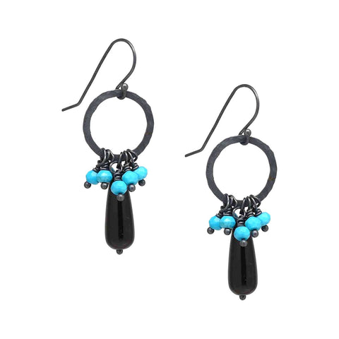 Sleeping Beauty Turquoise and Black Onyx Sterling Silver Earrings
