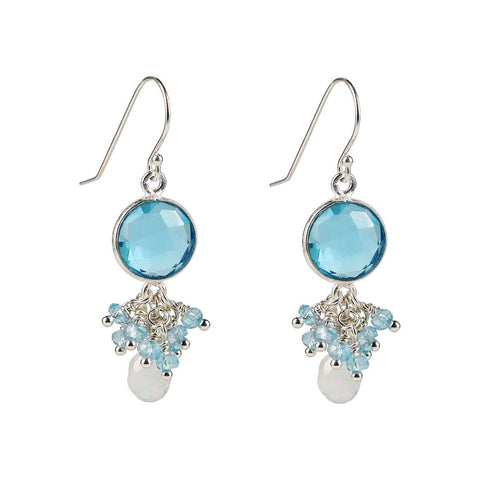Sterling Silver Aquamarine Cluster Dangle Earrings