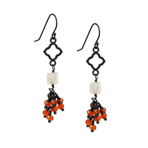 Sterling Silver Carnelian Cluster Cascading Earrings