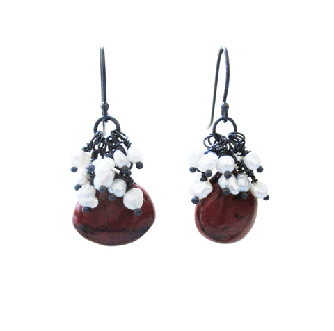 Pearl Cluster Mookite Jasper Sterling Silver Earrings