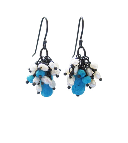 Sleeping Beauty Turquoise and Pearl Cluster Earrings in Sterling Silver