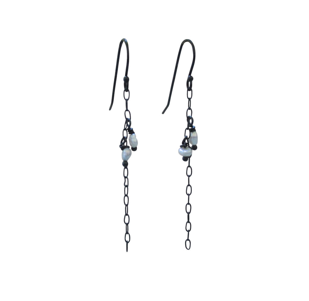 Accented Pearls Chain Earrings in Oxidized Sterling Silver