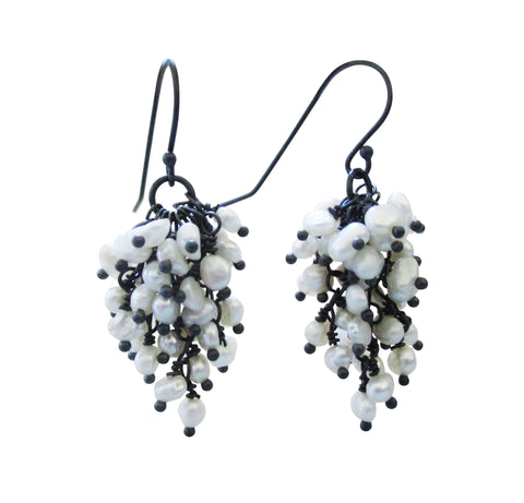 Oxidized Sterling Silver Cascade Dangle Pearl Earrings